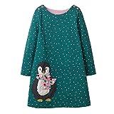 VIKITA Mädchen Baumwolle Langarm Streifen Tiere T-Shirt Kleid EINWEG JM7735 2T