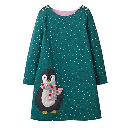 VIKITA Mädchen Baumwolle Langarm Streifen Tiere T-Shirt Kleid EINWEG JM7735 5T