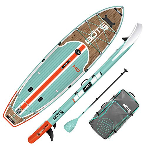 BOTE HD Aero Inflatable Stand Up Paddle Board, SUP with Accessories | Pump, Paddle, Fin & Travel Bag (Classic Teak…)