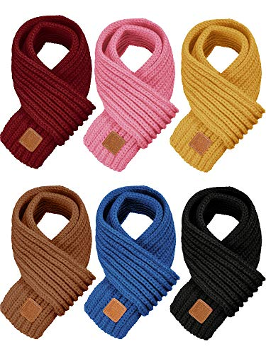 6 Pieces Kids Knitted Scarf Solid Color Winter Toddler Wrap Scarves for Boy Girls (Color Set 2)