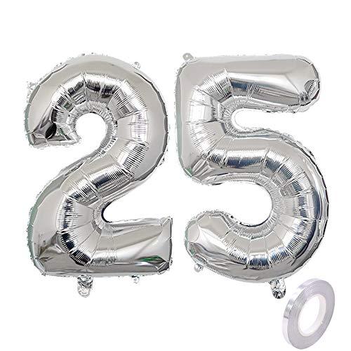 Globo de helio con número 25, plateado, número 25, para cumpleaños, decoración de fiesta de cumpleaños, XL, 32 pulgadas, para cumpleaños