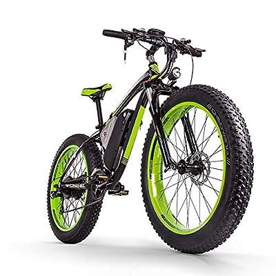 """Sea blog Fettreifen Elektrofahrrad Mountainbike 26"""" E-Bike mit 48V 16Ah/1000W Lithium-Batterie und Shimano 21-Gang Vollfederung hydraulische Scheibenbremse Elektrisches Fahrrad,Black+Green"""
