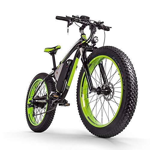 Sea blog Vélo de Montagne Électrique 26 '' 4.0 Gros Pneu e-Bike VTT avec Batterie Lithium-ION à Grande Capacité (48V16AH 1000W) Velo Électrique 21 Vitesses Suspension Complète,Black+Green