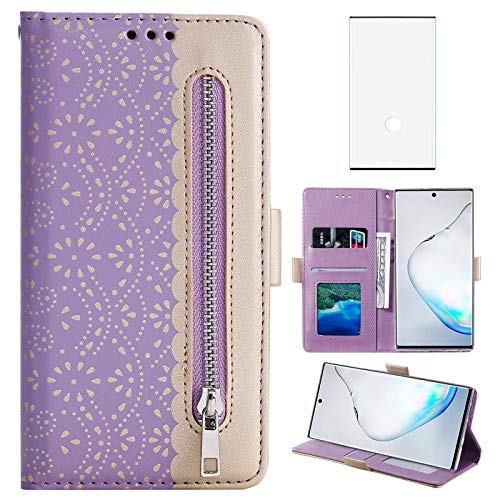 Compatible with Samsung Galaxy Note 10 Plus Glaxay Note10+ 5G Wallet Case Tempered Glass Screen Protector Wrist Strap Flip Cover Card Holder Phone Cases Note10 + Notes 10+ Ten Not S10 10Plus Purple