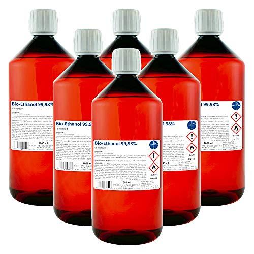 Kamin-Ethanol, 99,98% Alkohol-Gehalt I 6 x 1000 ml I Bioethanol I HERRLAN-Qualität I Made in Germany