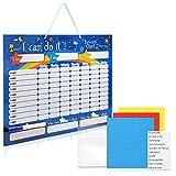 Navaris Tabla de recompensa para niños - Pizarra para recompensar Buen Comportamiento tareas y Aprender inglés English - Magnética con 250 imanes
