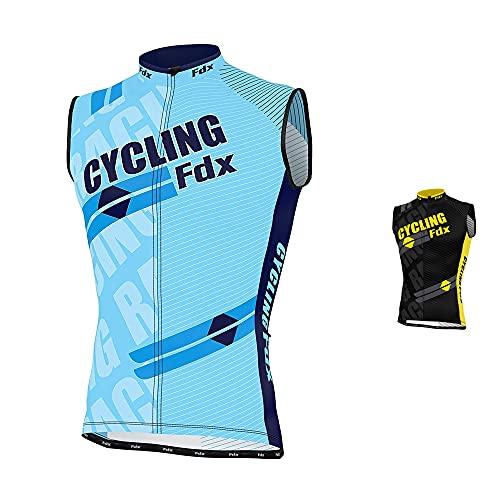 FDX, maglia da uomo senza maniche, da ciclismo, traspirante, FDX-Sleeveless-1A, Sky Blue, M