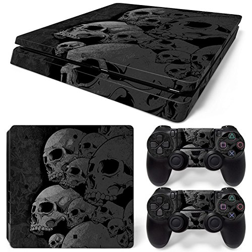 Sony PS4 Playstation 4 Slim Skin Design Foils Aufkleber Schutzfolie Set - Skulls Motiv