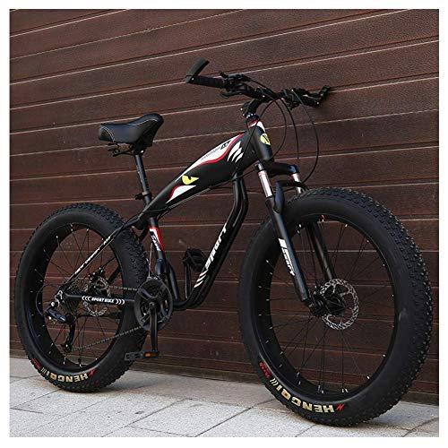 Unbekannt Mountain Bikes, 26-Zoll-Fat Tire Hardtail Mountainbike, Alurahmen Alpine Fahrrad, Frauen Der Männer Fahrrad Mit Federung Vorne,Schwarz,21Speed