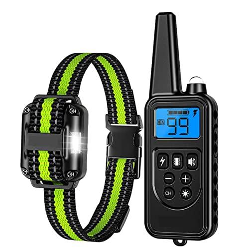 Collar para adiestramiento de perros, collar impermeable para ladridos a distancia, USB recargable, entrenador remoto para perros con vibración dual y modo de timbre hasta 800 yardas. Collar anti-ladr
