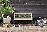 Lifa Garden Kinder Holzbank mit Metall, Wetterfeste Parkbank mit Armlehnen für Kinder, Sitzbank für Balkon Garten Terrasse, 2-Sitzer Parkbank 82 x 39 x 50 cm