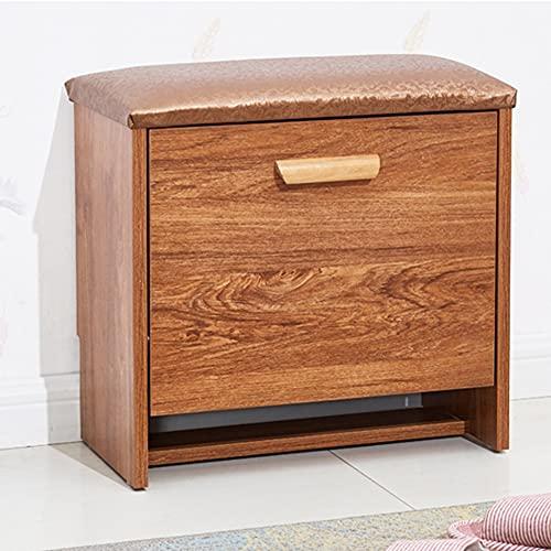 CAMILYIN Zapatero de madera de 2 niveles, organizador de zapatos con asiento acolchado, para entrada, sala de estar, 45 x 24 x 40 cm