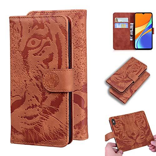 Snow Color Xiaomi Redmi 9C Hülle, Premium Leder Tasche Flip Wallet Case [Standfunktion] [Kartenfächern] PU-Leder Schutzhülle Brieftasche Handyhülle für Xiaomi Redmi9C - COTX020738 Braun