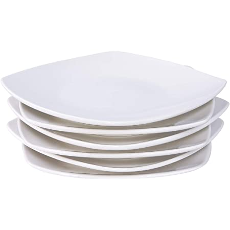 Le Tauci Salad Plate 8 Inch Ceramic Plate Set Of 6 For Appetizer Dessert Bread Snacks 10 Ounce White Salad Plates