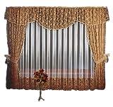 """Vorhang - Gardinen - Set """"Marianna"""" - CARAMEL - 2 x Gardinenschals je 155 x 250 cm, Lambrequin ( Schabracke/ Querbehang) 500 x 70 cm, Tüll mit Spitze 500cmx250cm, 2 x Gardinenbänder/Raffhalter (caramel)"""