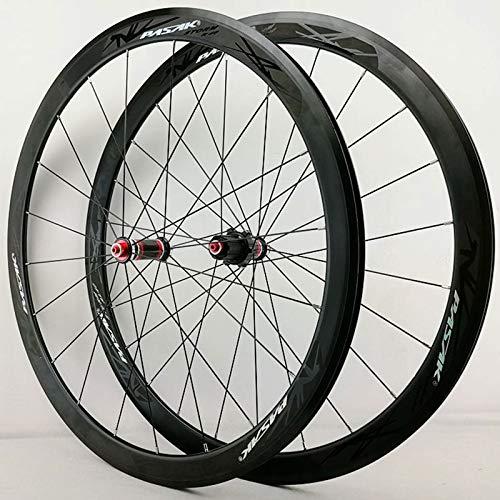 ZNND Fibra Carbonio 700C Set di Ruote per Bici da Strada Tirata Dritta Ciclismo Ruote 40 Mm Opaco Cerchio Lega Freno C/V 7-11 velocità Rilascio Rapido (Color : Black Hub Black Logo)
