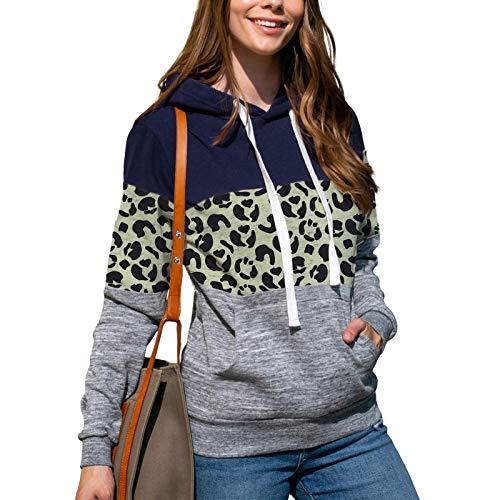 HFENG Damen Sweatshirt Mode Plüschmantel Leopard Splice Kapuzensweatshirt Winter...