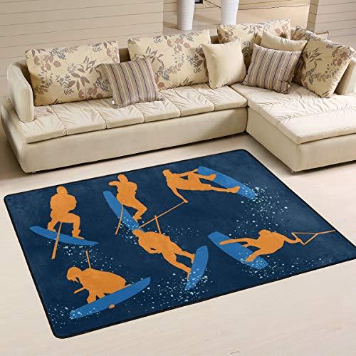 DEZIRO Wakeboarding polyester grappige deurmat Area Rug Entry Way Floor Mats Home Dec Schoenen Schraper anti-slip wasbaar 36 x 24 inch 1