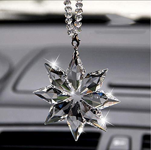 Wangzhuoyue Auto Anhänger Transparente Kristall Schneeflocken Dekoration Suspension Ornamente Suncatcher Hanging Trim Weihnachtsgeschenke