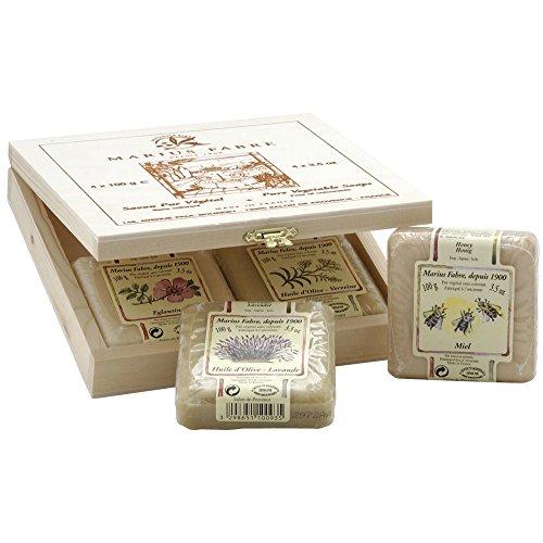 Geschenk-Kassette aus Holz von MARIUS FABRE MARSEILLE - mit rein pflanzlichen Seifen diverser Düfte - 4 Stücke à 100g - GRATIS VERSAND
