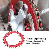 バイクチェーンリングガード アルミ合金 32/34/36/38T BCD 96MM幅の広い バイクチェーンリングシングルクランク M6000 / M7000 / M8000 / M9000シリーズクランク用(38T-赤)