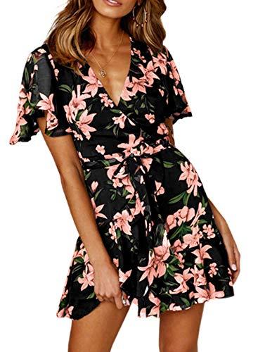CORAFRITZ Mini Vestido con Estampado Floral de Mujer con Cuello en V y Volantes Vestido de Tirantes Acampanado