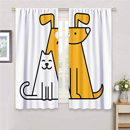 DIMICA Shading Insulated Curtain Cartoon Cats and Dogs Human Best Friends Forever Kids Nursery Room Art Print Home Decor Sliding Door Curtains W63 x L45 Inch Black White and Apricot_1