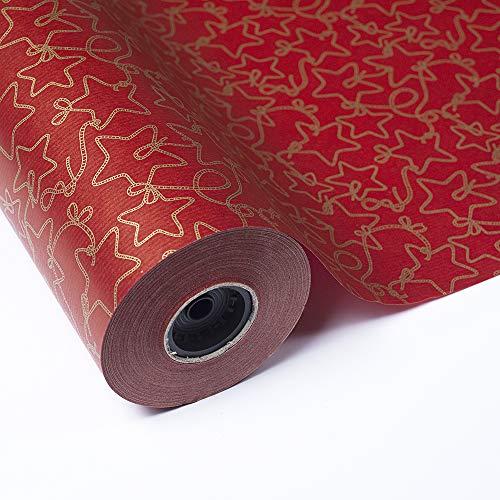 PAKOT Bobina Papel de Regalo Navideño - Rollo Grande 70CM X 100M - Diseño de Navidad con Estrellas en Color Oro