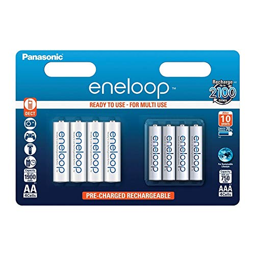 Panasonic Eneloop AA + AAA Eneloop Combination NiMH Ready to Use Rechargeable Batteries 1900mAh (AA)/ 750mAh (AAA) Multipack (8 Classic Batteries AAA & AA)