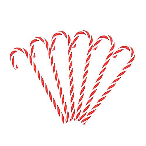 Dosige 15cm Papá Noel Muletas Bastones de Caramelo Retorcidos Rayas Rojas y Blancas Decoración de Navidad Decoraciones para árboles de Navidad Un Conjunto de 6 pcs