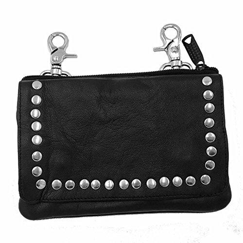 Borsa in pelle nera con borchie per Lady Rider