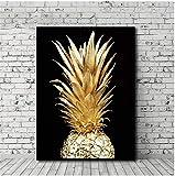 Mscomft Leinwand Bilder Wohnzimmer,Goldene Ananas ?Malerei