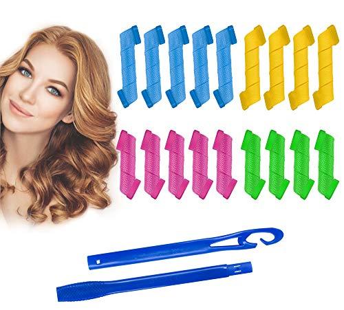 Rekey 18Pcs Magic Spiral Lockenwickler Set Haarstyling Werkzeuge Keine Hitze Flexible DIY Lockenwickler mit Styling Haken für Frauen Mädchen(15 und 25cm).