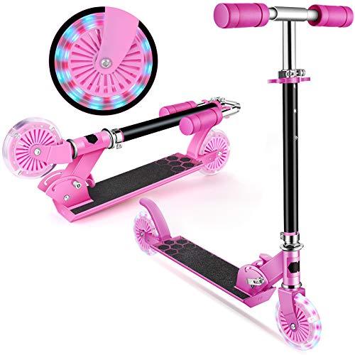 Kinder Roller - Scooter Kinder Faltbar umweltfreundliche -Beleuchtungsräder 4 einstellbare Höhen für Kinder von 3-12 Jahren mit maximaler Belastung von 50 kg