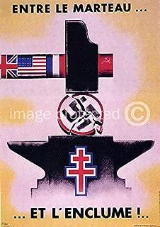 AGS - Vintage World War Two WW2 French Military Propaganda Poster Entre Le Marteau et L'Enclume - 24x36