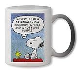 NoMoreFamous Charlie Brown Snoopy My Version of Triathalon Heat Colour Change Mug Magic Tazza
