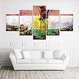 WJWORLD 5 Panel Kurdistan Flagge und Soldat Modernes Dekor Leinwand Wandkunst HD Print Geschenk -150 * 80cm-Rahmenlos