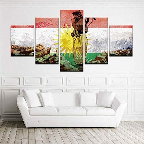 WJWORLD 5 Panel Kurdistan Flagge & Soldat Modernes Dekor Leinwand Wandkunst HD Print Geschenk -150 * 80cm-Rahmenlos