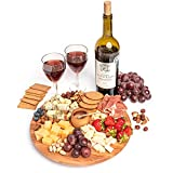 Premium Wood Cheese Board | Set of 3: Serving Plate with Honey Dipper & Pot | Charcuterie Platter & Serving Tray For Wine, Meat, Fruits and Snacks | Eco-Friendly Natural Wood Gift for Gourmets