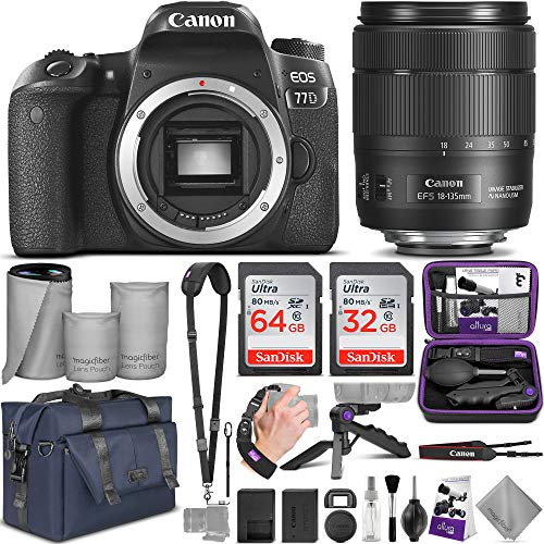 Canon EOS 77D DSLR Camera and Canon 18-135mm is USM Lens with Altura Photo Complete Accessory and Travel Bundle