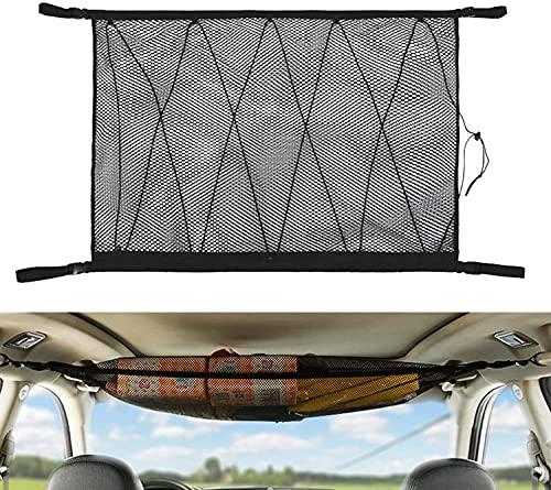 Mitlife Bolsillo de red de carga para techo de coche, 9065 cm, organizador de almacenamiento de techo de carga trasera, bolsa de almacenamiento de malla larga