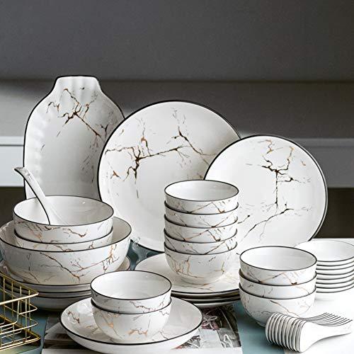 Juego de vajilla de porcelana blanca de estilo japonés, juego de vajilla de porcelana china con diseño de mármol, juego de plato y plato, cuenco de ensalada/sopa, para 2/4/6/8/10 persona