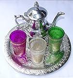 Kenta artesanias Juego de te marroquí Bandeja 25 cm + Tetera pequeña + 3 Vasos de Cristal