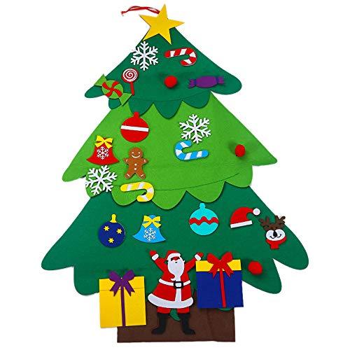 ZLYCZW DIY Filz Weihnachtsbaum Wand Ornamente Set, Weihnachten Ornamente Geschenke für Kinder, Weihnachten Tür Wand Dekor mit abnehmbaren Ornamenten,SantaClausPattern