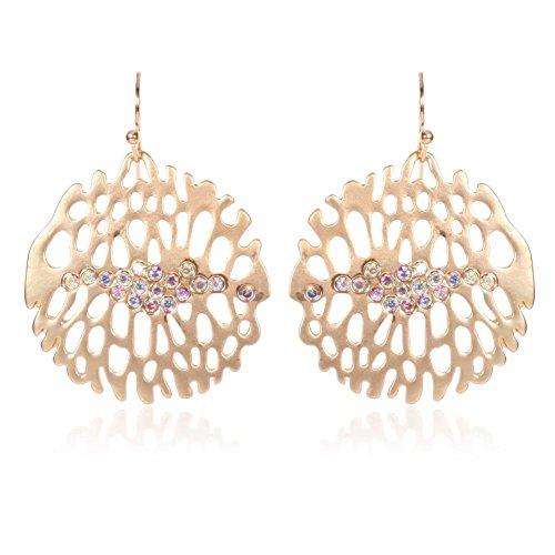 WANGLETA Ohrstecker Ohrhänger Geschenkidee für Frauen Gold Ohrringe runde unregelmäßige Parkett Farbe Wasser bohren schönes und elegantes Modell weiblichen Schmuck ausgesetzt