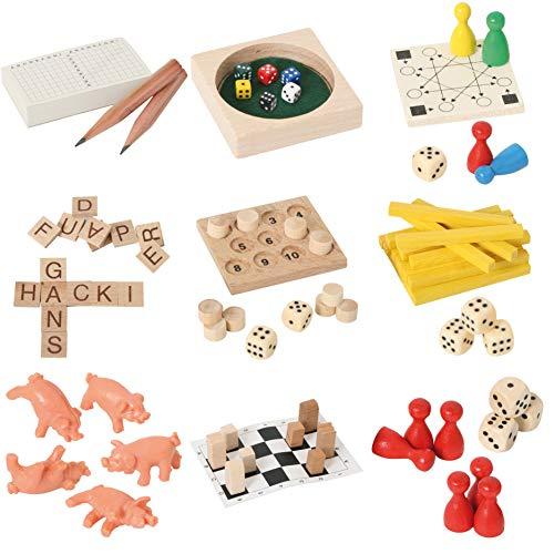 Bartl 500278 9 Mini-Spiele aus Holz für Erwachsene und Kinder