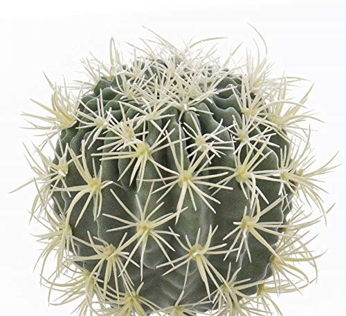 artplants.de Cactus Asiento de Suegra, Verde-Amarillo, Ø 34cm - Cactus Artificial - Planta Decorativa