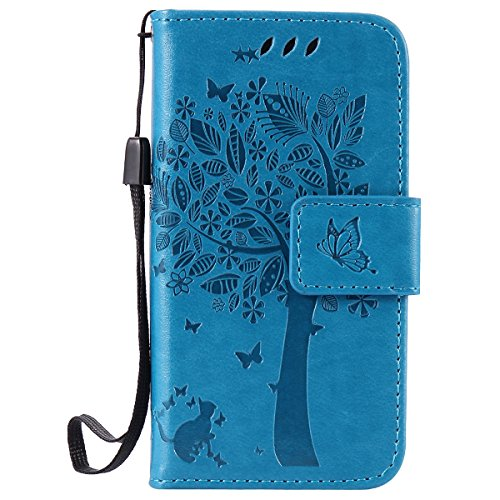 ISAKEN Kompatibel mit iPhone 4 4S Hülle, PU Leder Flip Cover Brieftasche Geldbörse Wallet Hülle Ledertasche Handyhülle Tasche Schutzhülle mit Handschlaufe Strap für iPhone 4 4S - Baum Katze Blau