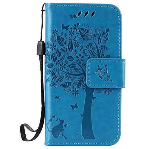 ISAKEN Kompatibel mit iPhone 4 4S Hülle, PU Leder Flip Cover Brieftasche Geldbörse Wallet Case Ledertasche Handyhülle Tasche Schutzhülle mit Handschlaufe Strap für iPhone 4 4S - Baum Katze Blau