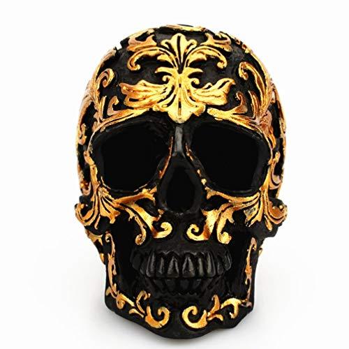 YARNOW Cabeça de caveira preta – Decoração de esqueleto de osso de resina de terror humano esculpido dourado (dourado)